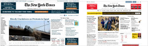 La edición Web antes del cambio (izquierda) y el nuevo diseño del sitio de The New York Times (derecha)